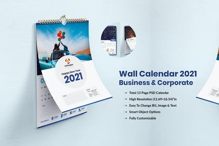 Wall Calendar 2021 For Business & Corporate