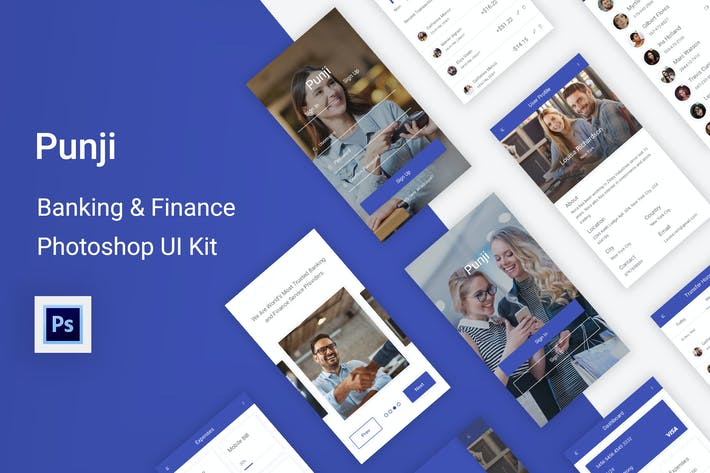 Thumbnail for Punji - Banking & Finance UI Kit for Photoshop