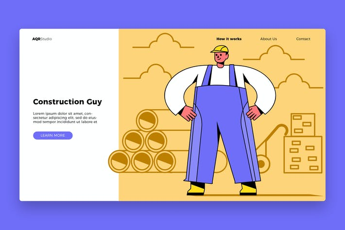 Thumbnail for Construction Guy - Banner & Landing Page