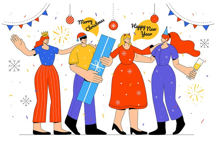 Thumbnail for Happy New Year -  - flat design style illustration