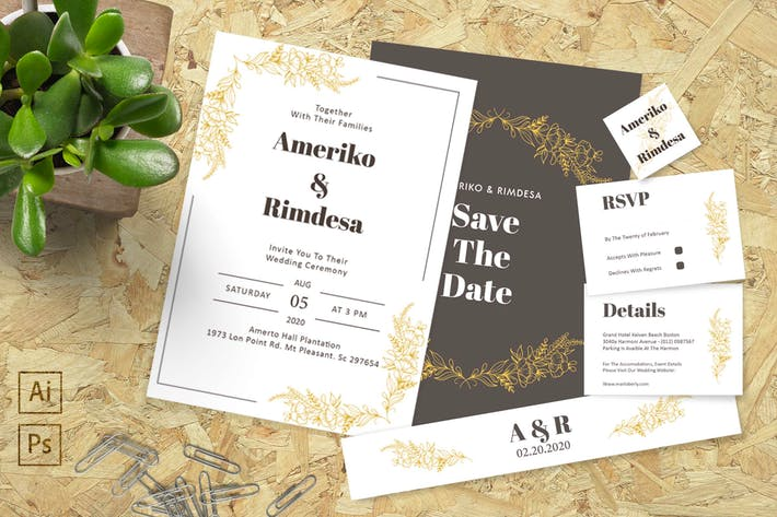 Thumbnail for Ameriko and Rimdesa Wedding Invitation