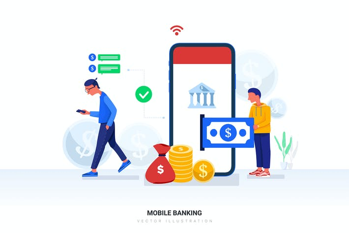 Thumbnail for Mobile Banking Vector Illustration