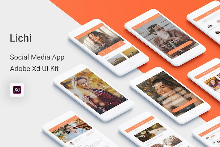 Thumbnail for Lichi - Social Media UI Kit for Adobe XD