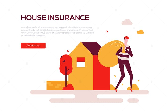 Thumbnail for House insurance - flat design style web banner
