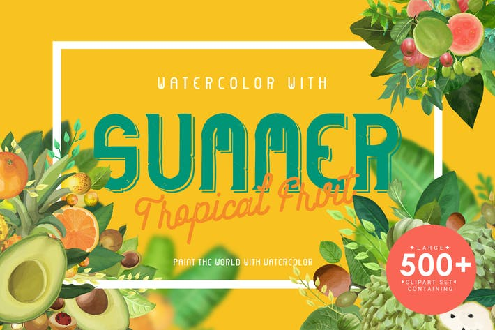 Thumbnail for Watercolor with summer - Tropical Fruit
