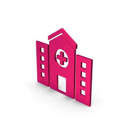 Símbolo hospital metálico