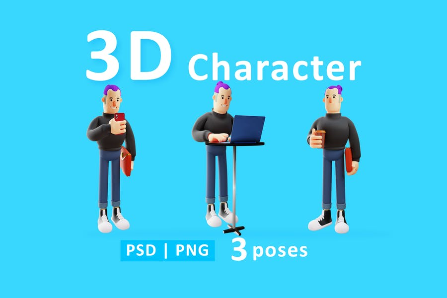 Cartoon Character Man 3D Illustration