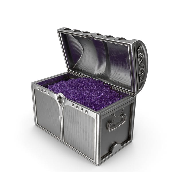 Silver Chest With Tiny Amethyst Gems
