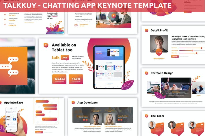 Thumbnail for Talkkuy - Chatting App Keynote Template