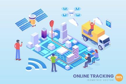 Vector de Tecnología de seguimiento en línea isométrica