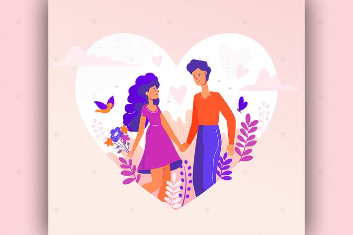Cover Image For Romantic couple - flat design style illustration