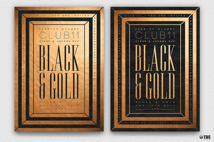 Thumbnail for Minimal Black And Gold Flyer Template V7