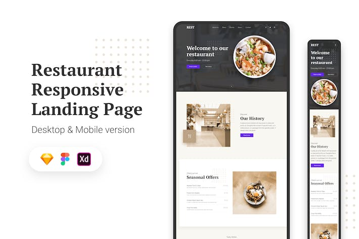 Thumbnail for Restaurant Responsive Landing Page