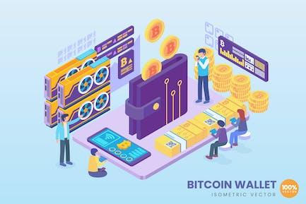 Isometrische Bitcoin-Wallet Konzept