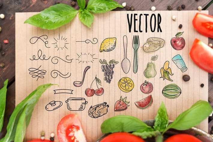 Thumbnail for Vector set Recipe - watercolor