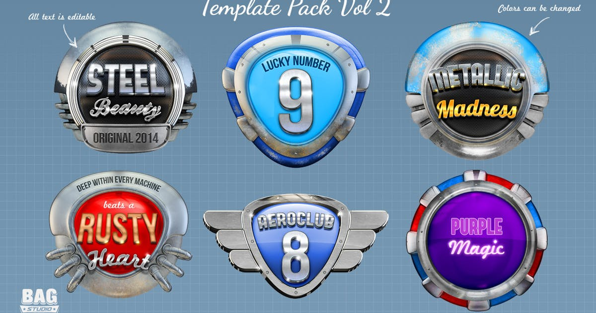 Metal Badges Template Pack Vol 2 by Gabey005