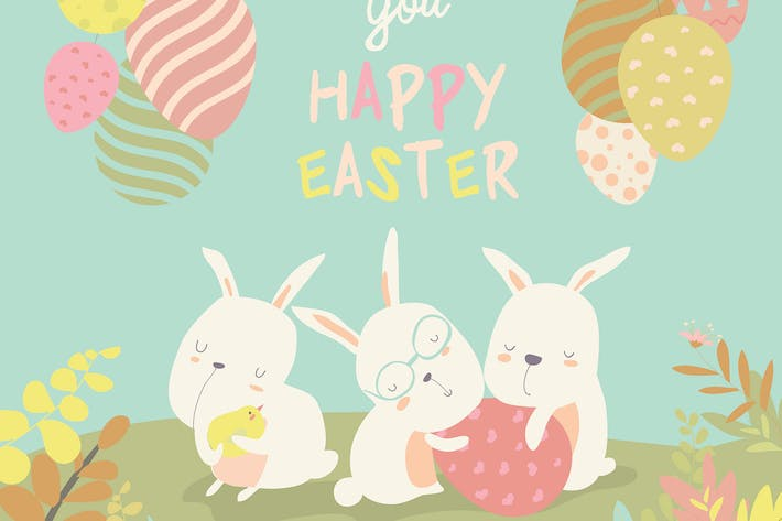 Thumbnail for Funny easter bunnies with flowering branches.