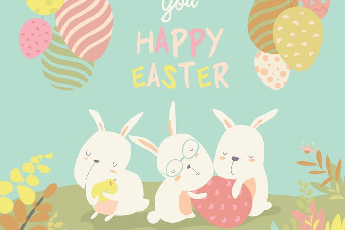 Funny easter bunnies with flowering branches.