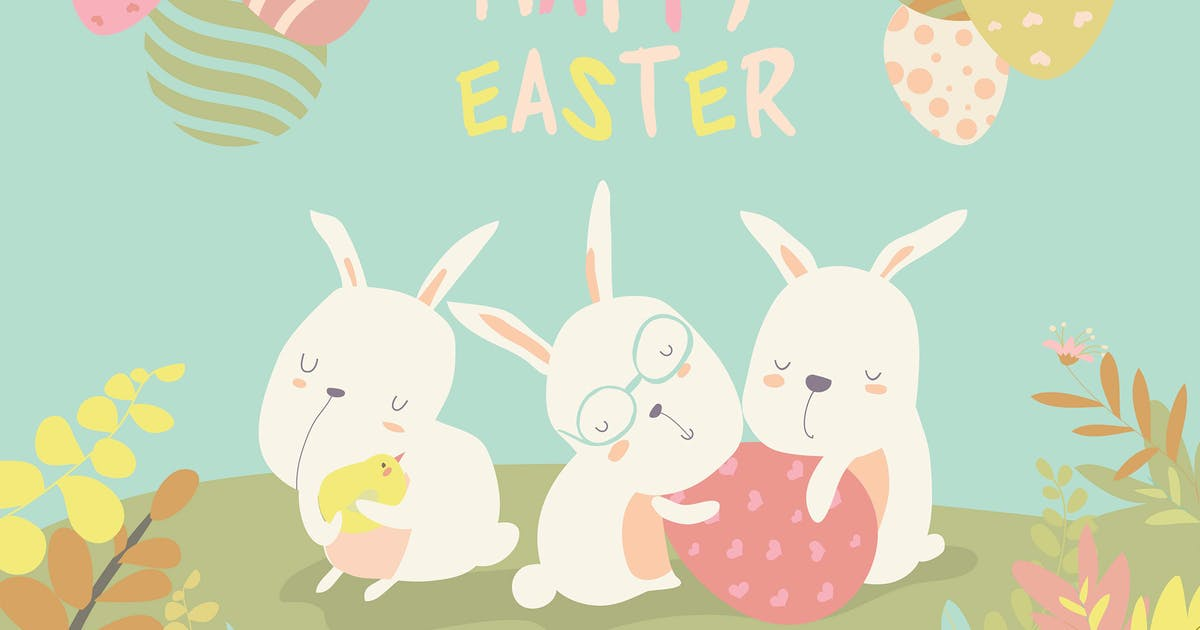 Download Funny easter bunnies with flowering branches. by masastarus