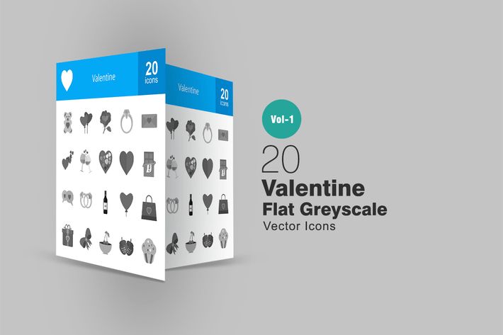 Thumbnail for 20 Valentine Greyscale Icons