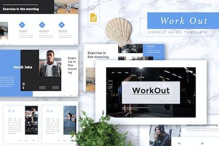 WORKOUT - Тренажерный зал и фитнес Google слайды Шаблон