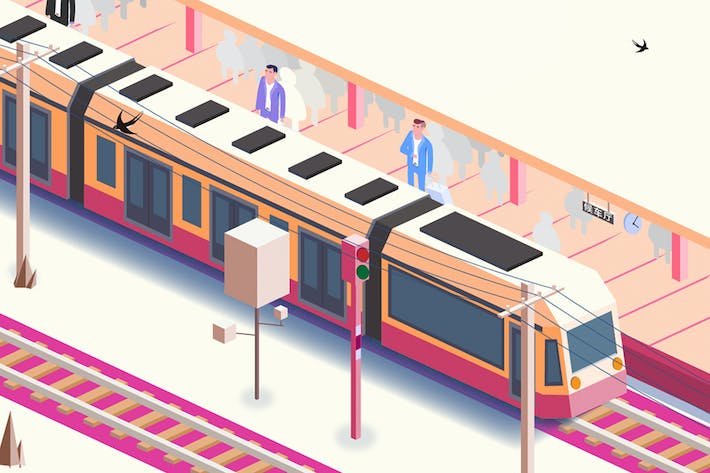 Waiting for the train - axonometric illustrations
