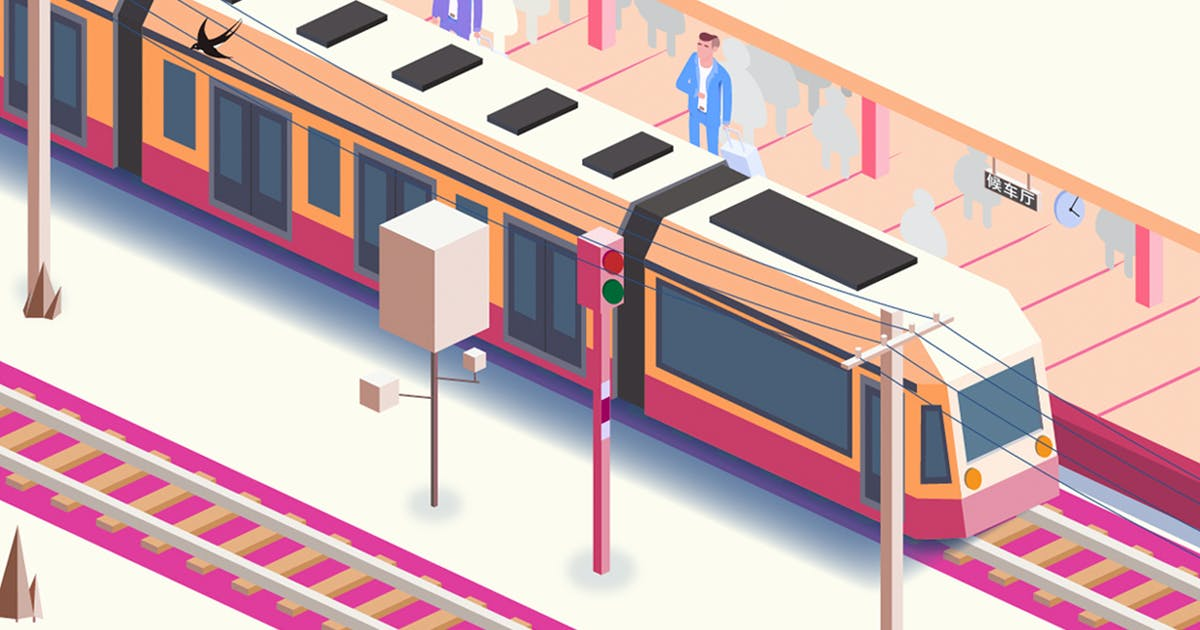 Download Waiting for the train - axonometric illustrations by htpvvv3