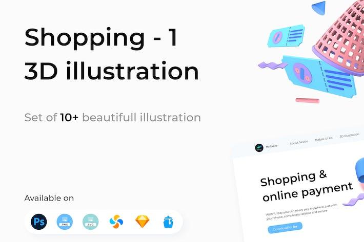 Einkaufen 3D Illustrationen Teil 1