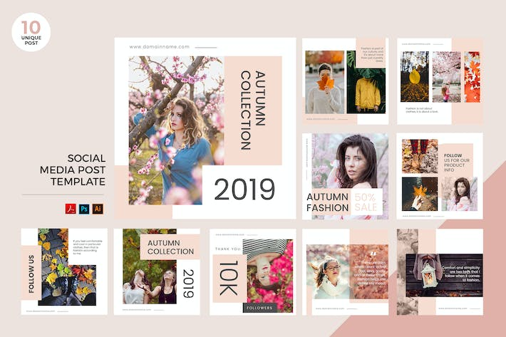 Thumbnail for Autumn Fashion Sale Social Media Kit PSD & AI