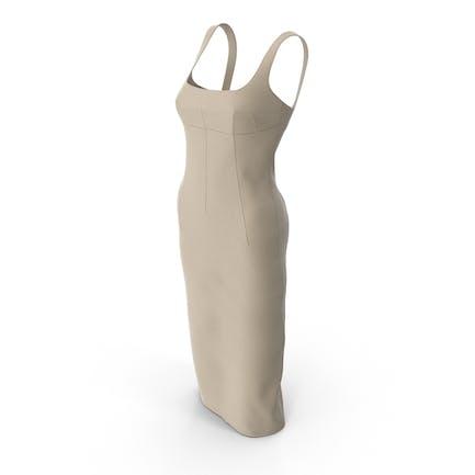 Ärmelloses langes Beige Kleid mit Darts