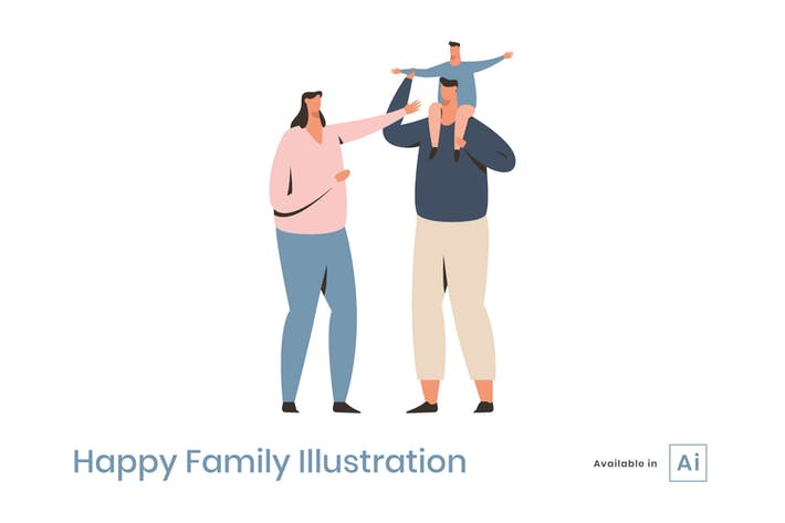 Thumbnail for Happy Family Illustration