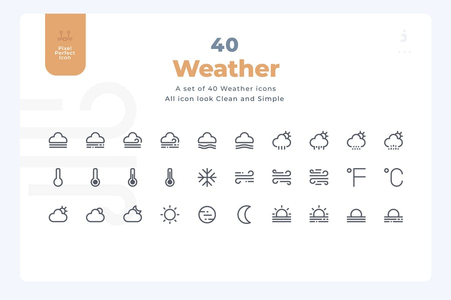 40 Weather Icons - Material Icon