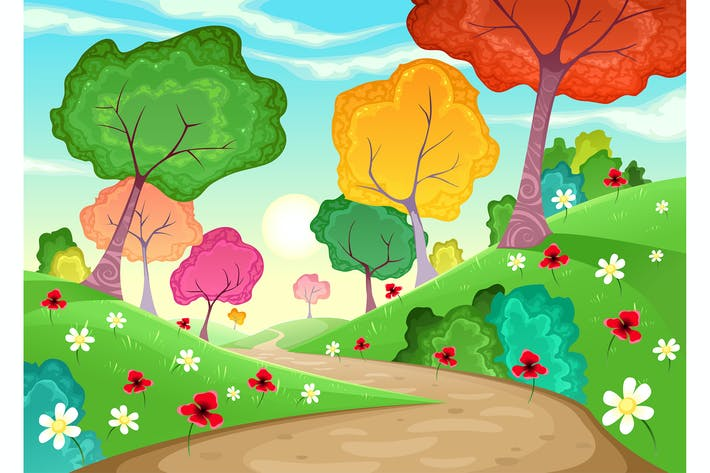 Landschaft mit bunten Bäumen