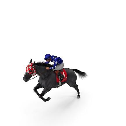 Jumping Black Racing Horse with Jokey Fur