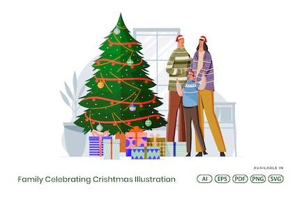 Familia Celebrando Navidad