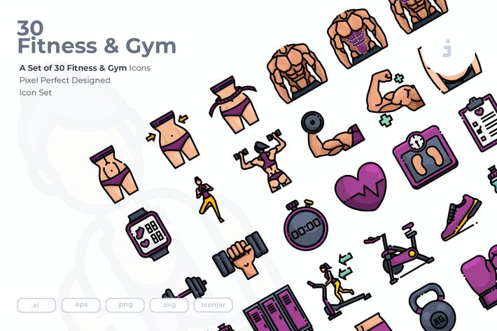Thumbnail for 30 Fitness & Gym Icons