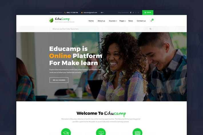 Thumbnail for EduCamp - Education & Online Learning PSD Template
