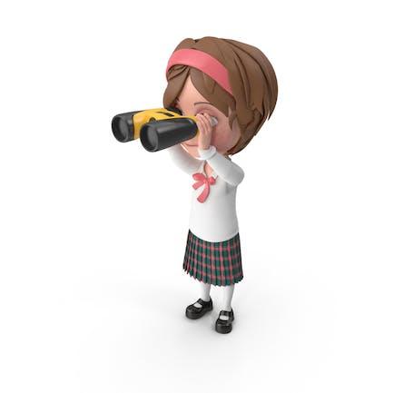 Cartoon Girl Meghan Blick durch Fernglas