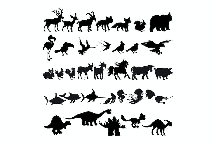 Thumbnail for Silhouettes of Cartoon Animals