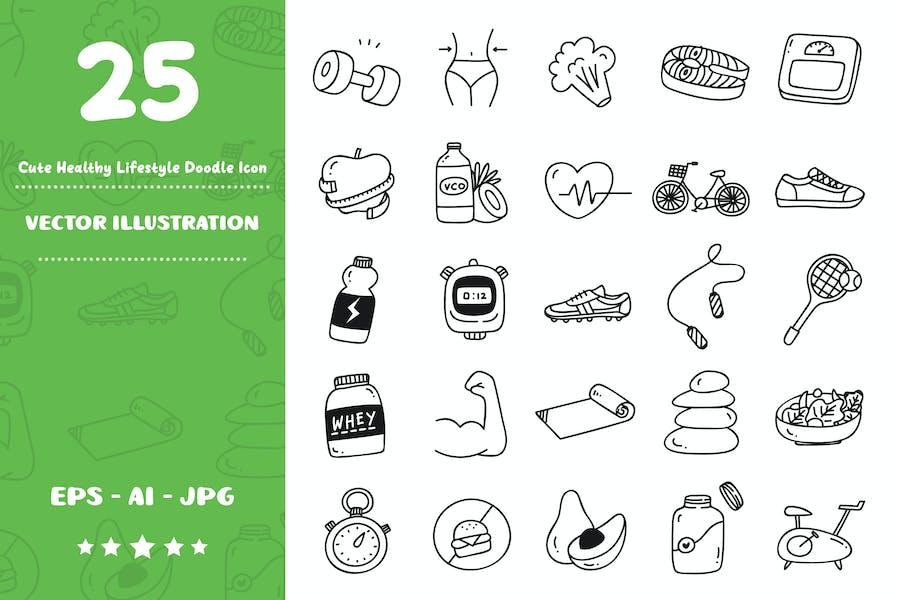Niedliche gesunde Lebensstil-Doodle-Symbol