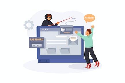 Data Breach Illustration Concept