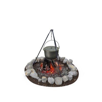Lagerfeuer mit Stativ und Kochtopf