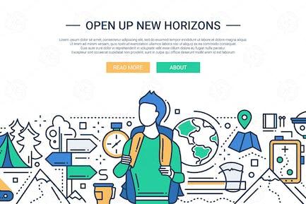 Open Up New Horizons - line design website banner