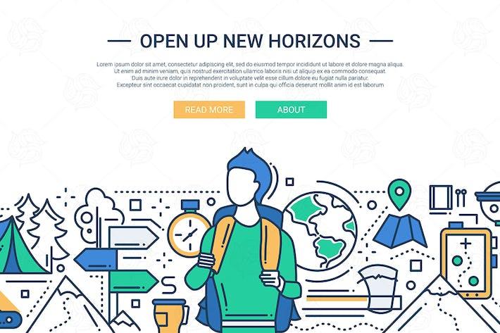 Thumbnail for Open Up New Horizons - line design website banner