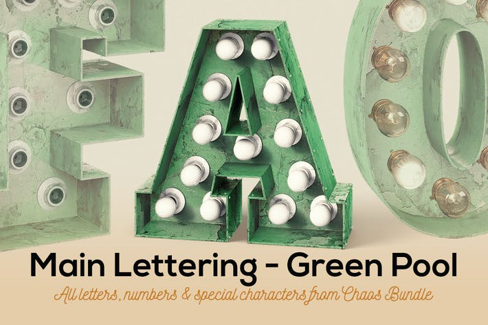 Thumbnail for Marquee Light Bulbs Chaos 13 - Green Pool Letters