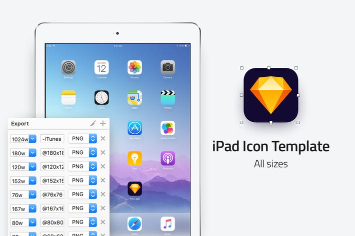 Cover Image For iPad icon template - All sizes