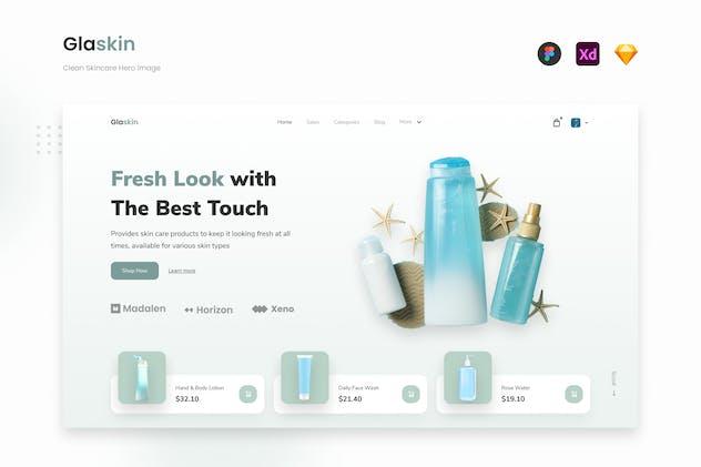 Glaskin - Modern Skincare Product Website Landing