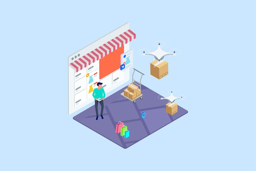 Drones Delivery Isometric Illustration - T2