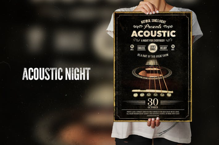 Thumbnail for Acoustic Night Flyer Poster