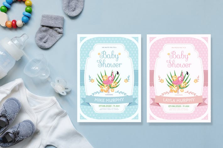Thumbnail for Simple Flamingo - Baby Shower Invitation